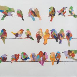Birds On A Wire II Acrylic Painting