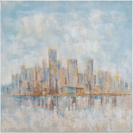City Brushed with Blue Acrylic Painting