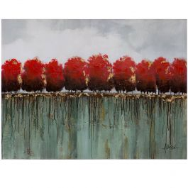 Red Tree Tops Acrylic Painting