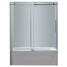 """60"""" Stainless Steel Frameless Sliding Tub Door"""