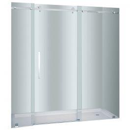 """72"""" Stainless Steel Frameless 2-Wheel Sliding Shower Door"""