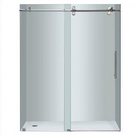 """60"""" Chrome Frameless 4-Wheel Sliding Shower Door"""