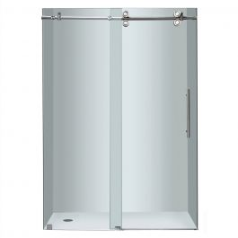 "48"" Stainless Steel Frameless Sliding Shower Door"