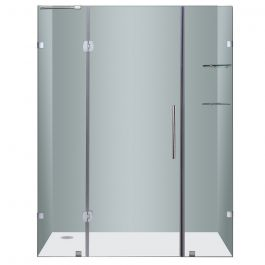 "60"" Chrome Frameless Dual Hinge Shower Door"