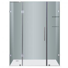 """60"""" Stainless Steel Frameless Hinged Shower Door"""
