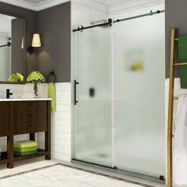 """SDR984 Coraline 44-48"""" Frameless Sliding Alcove Shower Door - Oil Rubbed Bronze"""