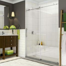 """SDR984 Coraline 56-60"""" Frameless Sliding Alcove Shower Door - Stainless Steel"""