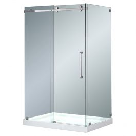 "48"" Stainless Steel Frameless Shower Enclosure"