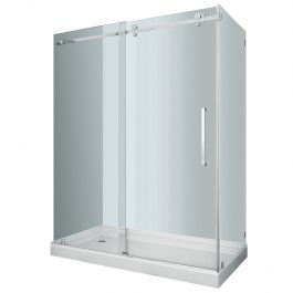 "60"" Stainless Steel Frameless Shower Enclosure"
