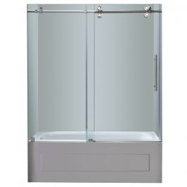 "60"" Chrome Frameless Sliding Tub Door"