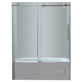 "60"" Stainless Steel Frameless Sliding Tub Door"
