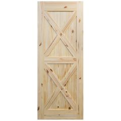"Barn Door - Crossbuck - Knotty Pine - 28"" x 84"""