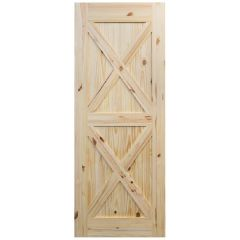 "Barn Door - Crossbuck - Knotty Pine - 36"" x 84"""