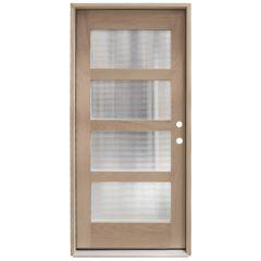 CCM100 4-Lite Mahogany Exterior Wood Door - Reeded Glass - Left Hand Inswing