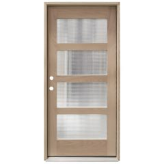 CCM100 4-Lite Mahogany Exterior Wood Door - Reeded Glass - Right Hand Inswing