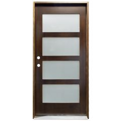 CCM100 4-Lite Exterior Wood Door - Satin Glass - Honey - Right Hand Inswing