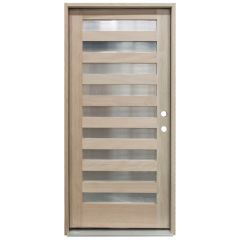 CCM200 9-Lite Mahogany Exterior Wood Door - Reeded Glass - Left Hand Inswing