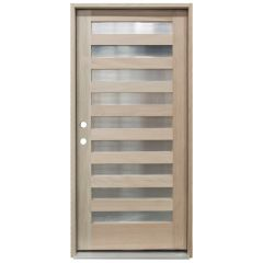 CCM200 9-Lite Mahogany Exterior Wood Door - Reeded Glass - Right Hand Inswing