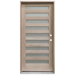 CCM200 9-Lite Mahogany Exterior Wood Door - Satin Glass - Left Hand Inswing