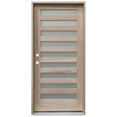 CCM200 9-Lite Mahogany Exterior Wood Door - Satin Glass - Right Hand Inswing