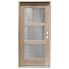 CCM400 3-Lite Mahogany Exterior Wood Door - Reeded Glass - Left Hand Inswing