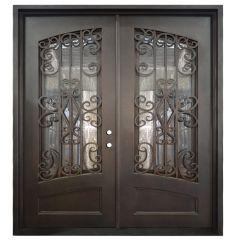 Cortez Double Wrought Iron Entry Door Left Swing 6068
