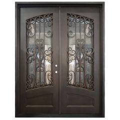 Cortez Double Wrought Iron Entry Door Left Swing 6080