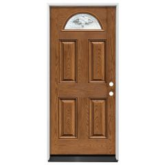 "36"" Madison 1/2 Circle Exterior Fiberglass Door - Medium Oak - Left Hand Inswing"