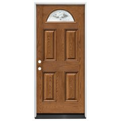 "36"" Madison 1/2 Circle Exterior Fiberglass Door - Med. Oak - Right Hand Inswing"