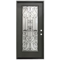 """36"""" Hestia Prehung Exterior Fiberglass Door - Graphite - Left Hand Inswing"""