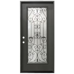 "36"" Hestia Prehung Exterior Fiberglass Door - Graphite - Right Hand Inswing"