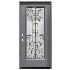 "36"" Hestia Prehung Exterior Fiberglass Door - Gray - Right Hand Inswing"
