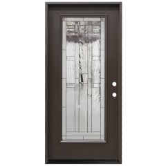 "36"" Lancaster Full View Fiberglass Door - Dark Walnut - Left Hand Inswing"