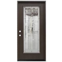 "36"" Lancaster Full View Fiberglass Door - Dark Walnut - Right Hand Inswing"