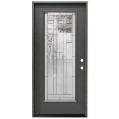 """36"""" Lancaster Full View Exterior Fiberglass Door - Graphite - Left Hand Inswing"""