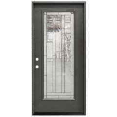 "36"" Lancaster Full View Exterior Fiberglass Door - Graphite - Right Hand Inswing"