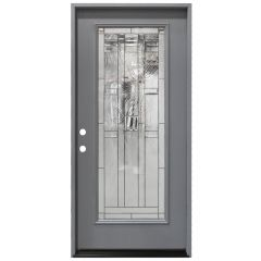 "36"" Lancaster Full View Exterior Fiberglass Door - Gray - Right Hand Inswing"