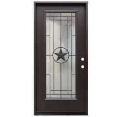 "36"" Texas Star Full View Fiberglass Door - Dark Walnut - Left Hand Inswing"