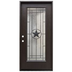 "36"" Texas Star Full View Fiberglass Door - Dark Walnut - Right Hand Inswing"