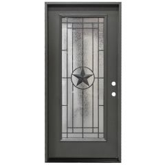"36"" Texas Star Full View Exterior Fiberglass Door - Graphite - Left Hand Inswing"