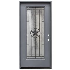 "36"" Texas Star Full View Exterior Fiberglass Door - Gray - Left Hand Inswing"