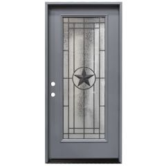 "36"" Texas Star Full View Exterior Fiberglass Door - Gray - Right Hand Inswing"