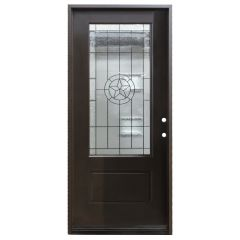"36"" Texas Star 3/4 View Fiberglass Door - Dark Walnut - Left Hand Inswing"