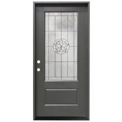 "36"" Texas Star 3/4 View Exterior Fiberglass Door - Graphite - Right Hand Inswing"
