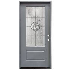 "36"" Texas Star 3/4 View Exterior Fiberglass Door - Gray - Left Hand Inswing"
