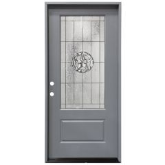 "36"" Texas Star 3/4 View Exterior Fiberglass Door - Gray - Right Hand Inswing"