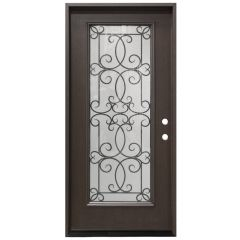 "36"" Ulysses Full View Exterior Fiberglass Door - Dark Walnut - Left Hand Inswing"