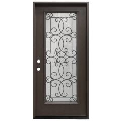 "36"" Ulysses Full View Fiberglass Door - Dark Walnut - Right Hand Inswing"