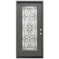 "36"" Ulysses Full View Exterior Fiberglass Door - Graphite - Left Hand Inswing"
