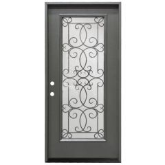 "36"" Ulysses Full View Exterior Fiberglass Door - Graphite - Right Hand Inswing"
